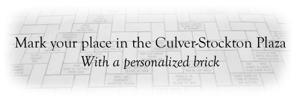 Mark your place on the Culver-Stockton Plaza with a personalized brick.